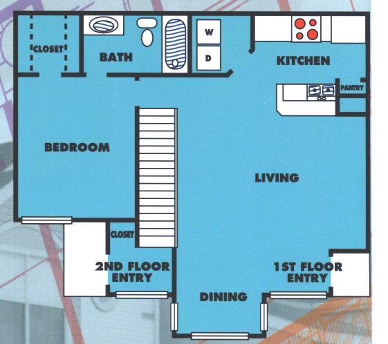 775 sq. ft. 1B/60% floor plan