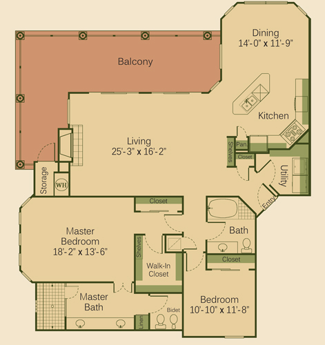 1,700 sq. ft. 2C floor plan