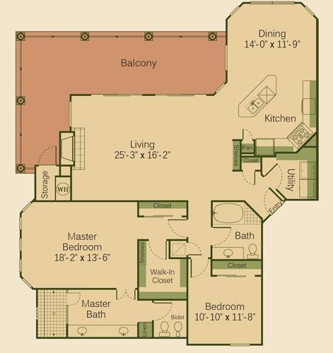 1,700 sq. ft. 2C floor plan