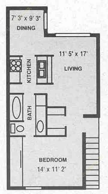 675 sq. ft. A-2 floor plan