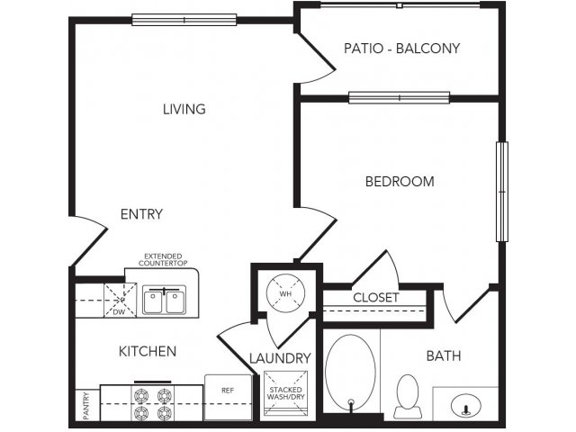 579 sq. ft. Barker floor plan