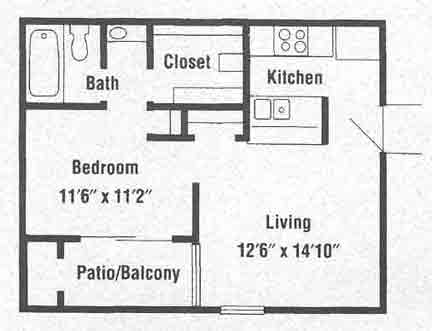 488 sq. ft. A2 floor plan