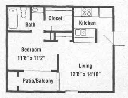 488 sq. ft. A2 floor plan