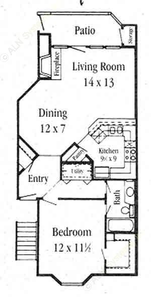825 sq. ft. A-3 floor plan