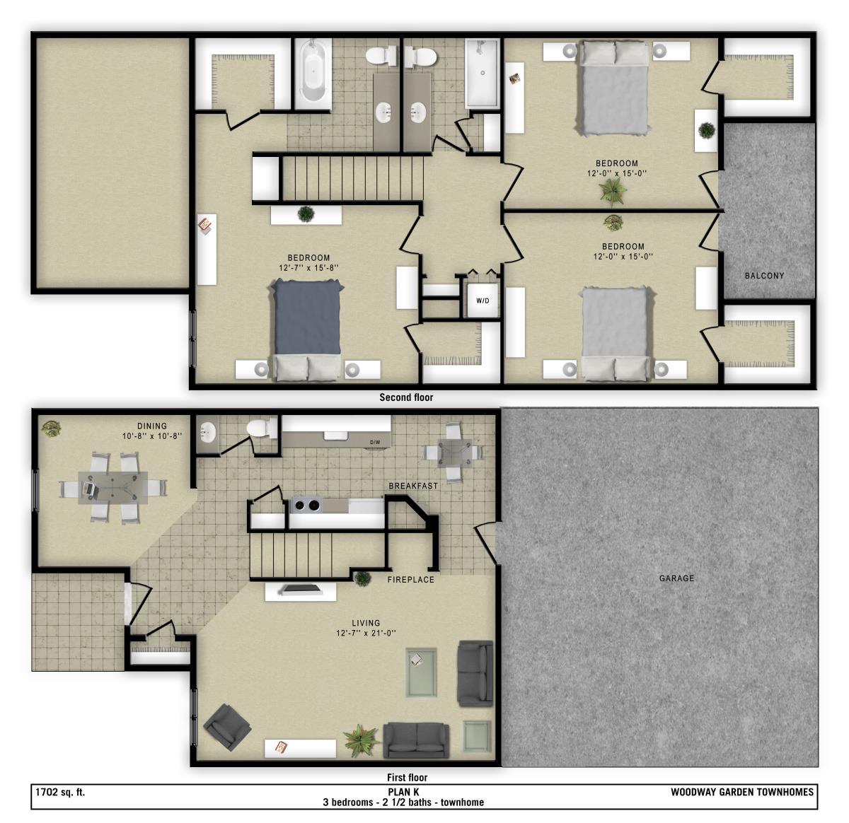 1,702 sq. ft. K floor plan