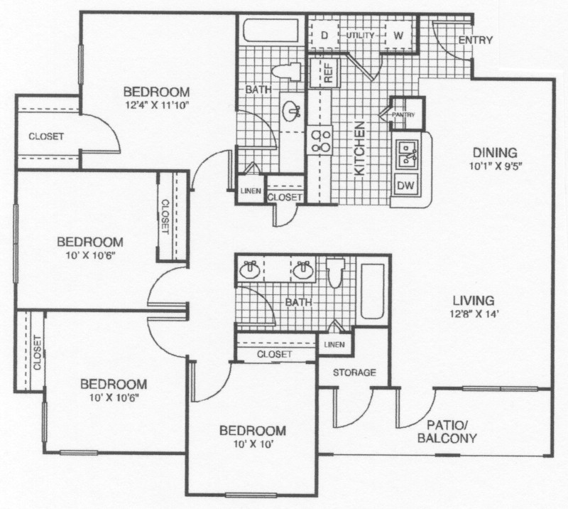 1,300 sq. ft. 60% floor plan