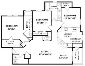 1,367 sq. ft. Vaughn floor plan