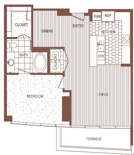 894 sq. ft. B floor plan