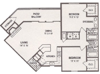1,022 sq. ft. floor plan
