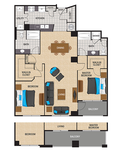 1,330 sq. ft. to 1,688 sq. ft. Titanium White floor plan
