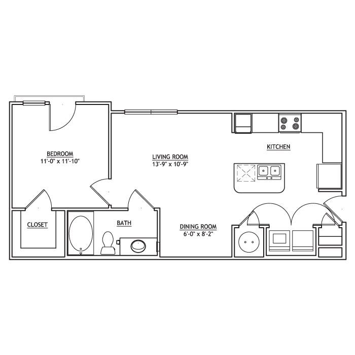 663 sq. ft. A1 floor plan