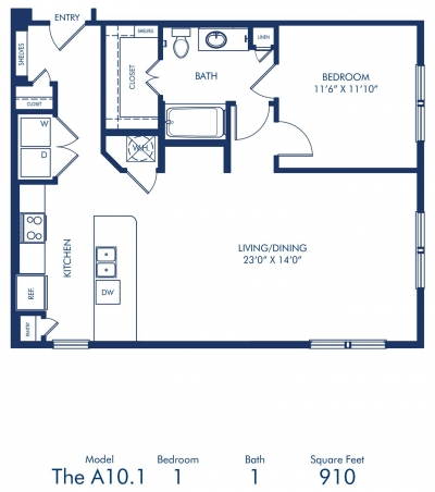 910 sq. ft. A10.1 floor plan