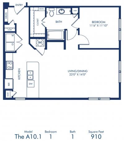 910 sq. ft. A10.1 floor plan