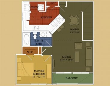 861 sq. ft. Cherry Laurel floor plan