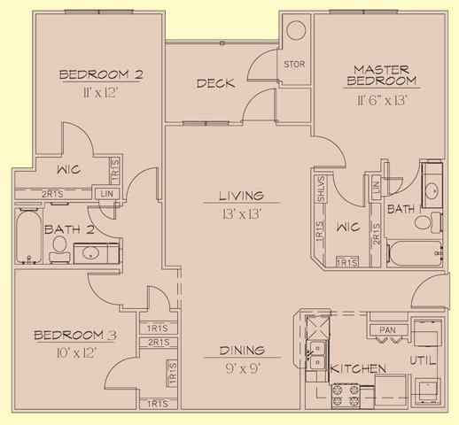 1,261 sq. ft. 60% floor plan