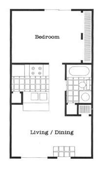 520 sq. ft. A1/60 floor plan