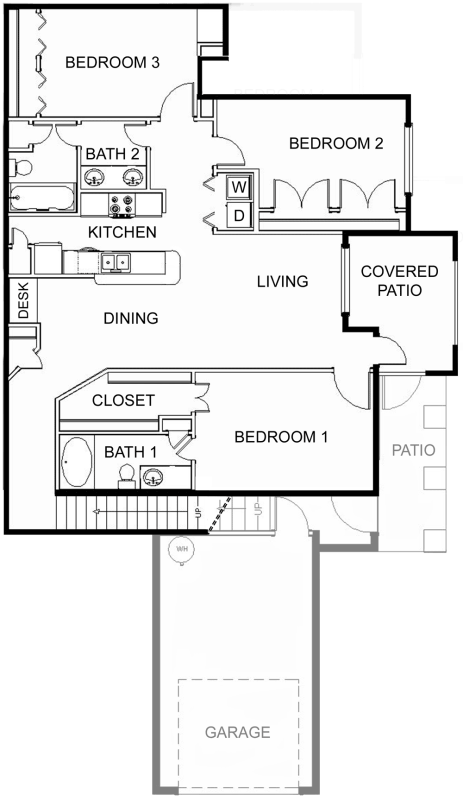1,288 sq. ft. 60% floor plan