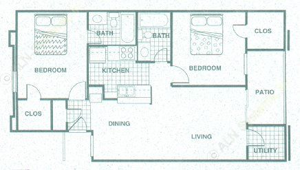 924 sq. ft. B3 floor plan
