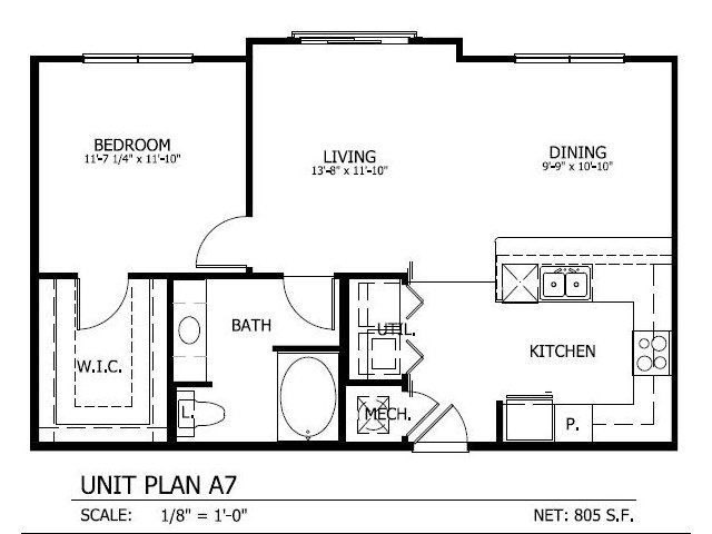 805 sq. ft. A.7 floor plan