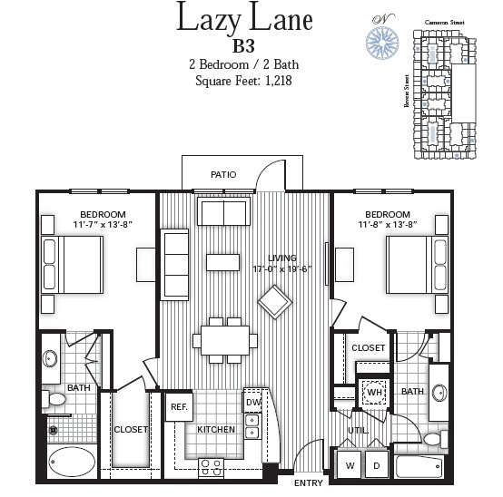 1,218 sq. ft. LAZY LANE floor plan