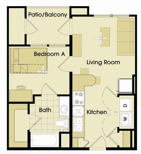 491 sq. ft. floor plan