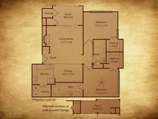 1,062 sq. ft. B2 floor plan