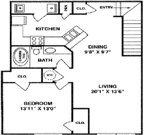 946 sq. ft. A4 Upper floor plan