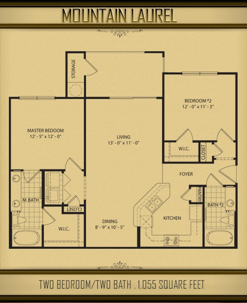 1,055 sq. ft. MT LAUREL floor plan