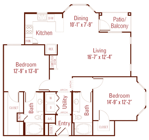 1,217 sq. ft. Cypress floor plan