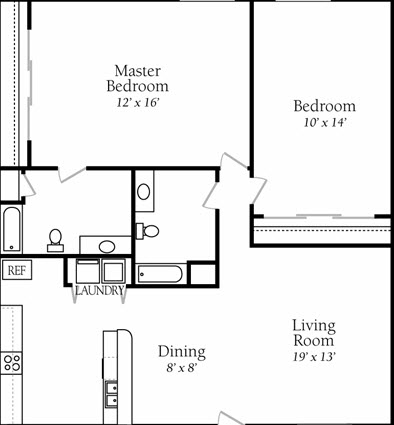 1,017 sq. ft. B3 floor plan