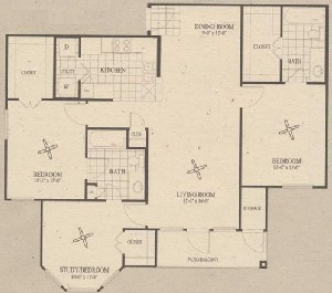 1,220 sq. ft. C2 floor plan
