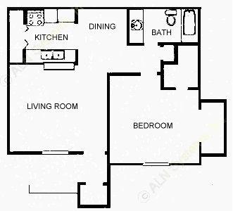 670 sq. ft. 1A/B/C floor plan