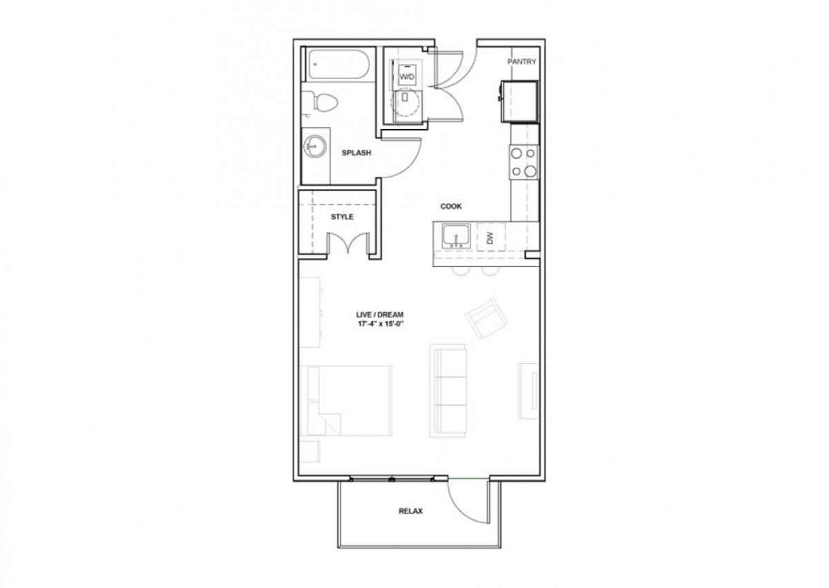 567 sq. ft. Katy floor plan
