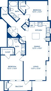 1,090 sq. ft. B1 floor plan