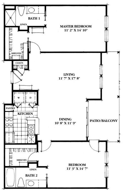 1,117 sq. ft. Cypress floor plan
