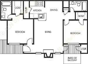1,000 sq. ft. Grosbeak floor plan