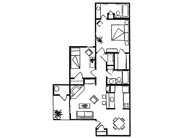 875 sq. ft. Rio floor plan