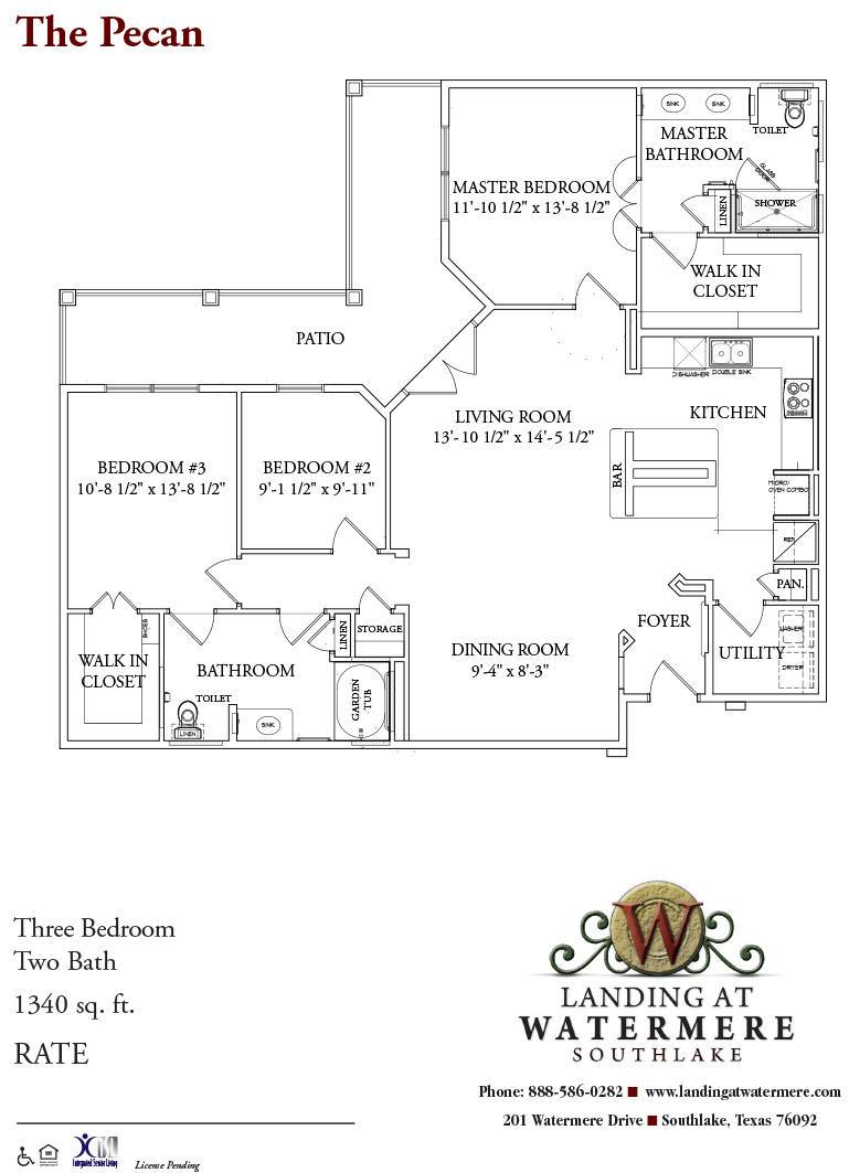 1,340 sq. ft. Pecan floor plan