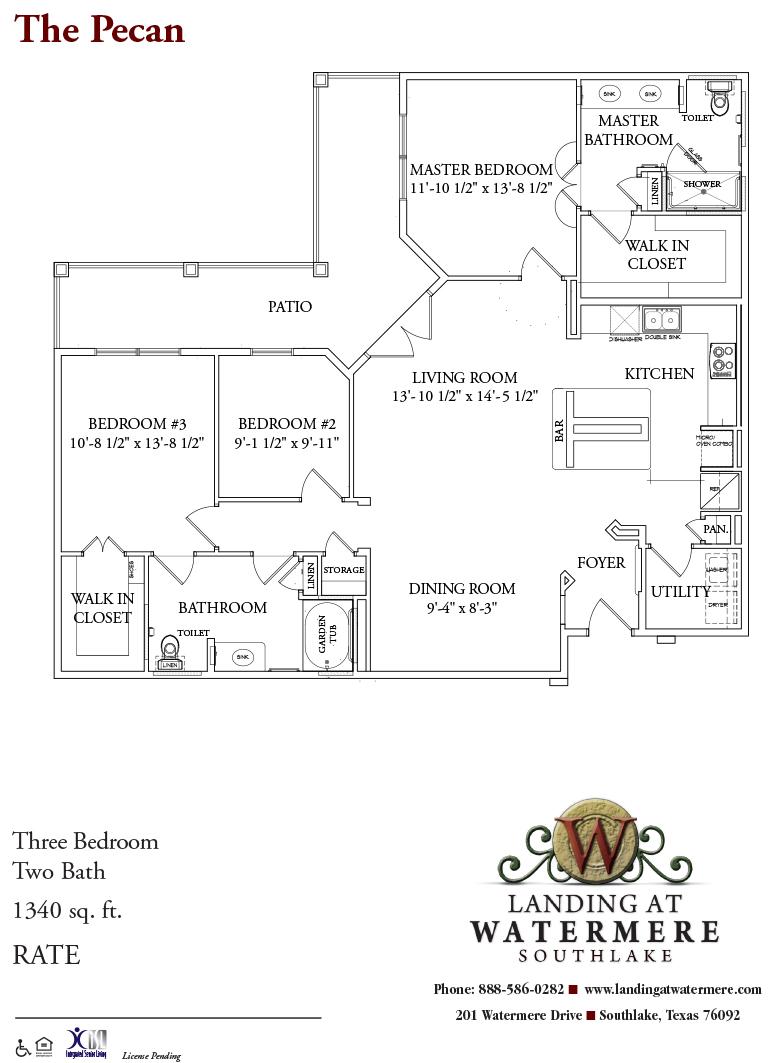 1,340 sq. ft. Pecan floor plan