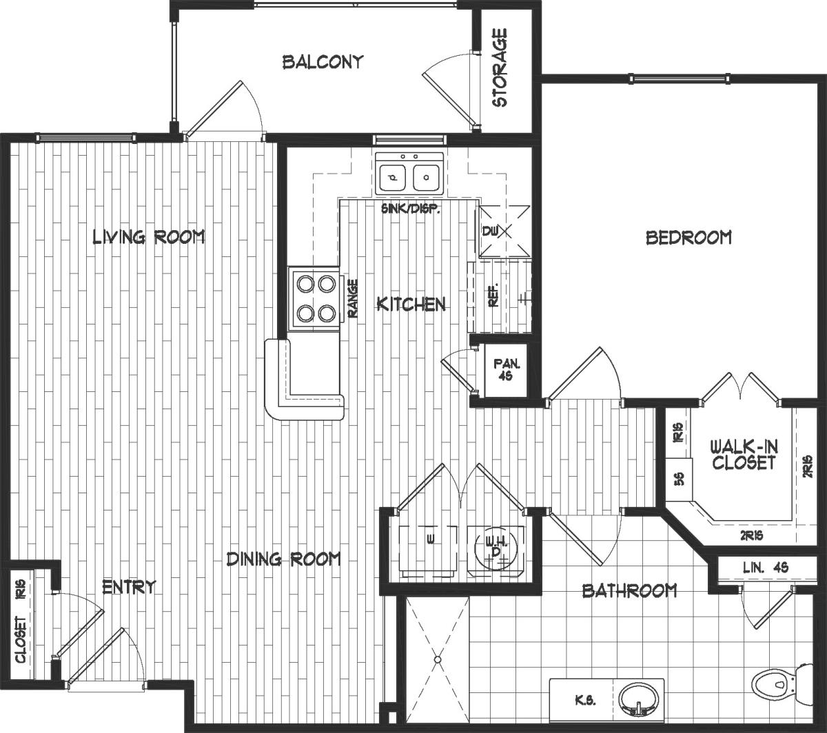 781 sq. ft. 50% floor plan
