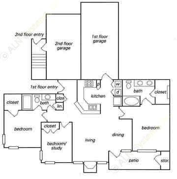 1,254 sq. ft. C1 w/ attached garage floor plan