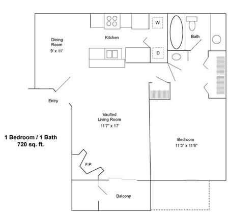 720 sq. ft. B floor plan