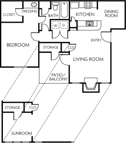 736 sq. ft. 1B floor plan