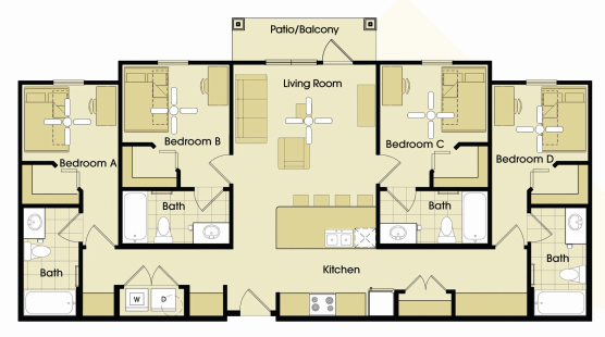1,238 sq. ft. to 1,327 sq. ft. floor plan