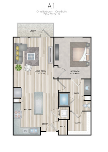 720 sq. ft. to 737 sq. ft. A1 floor plan