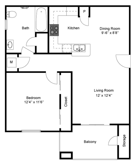 698 sq. ft. A/Mkt floor plan