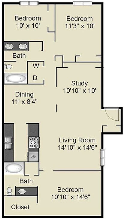 1,360 sq. ft. G floor plan