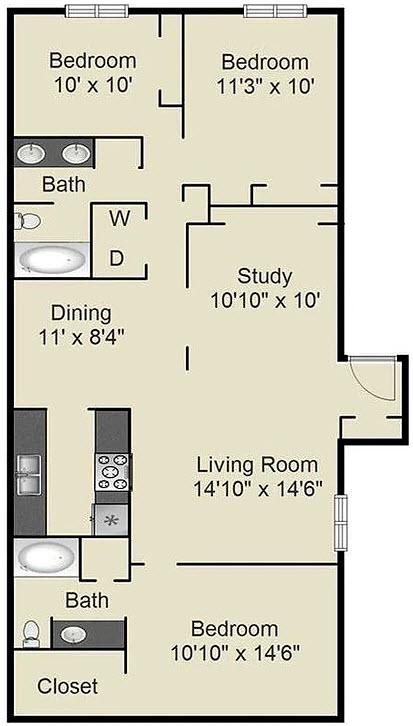 1,360 sq. ft. G floor plan