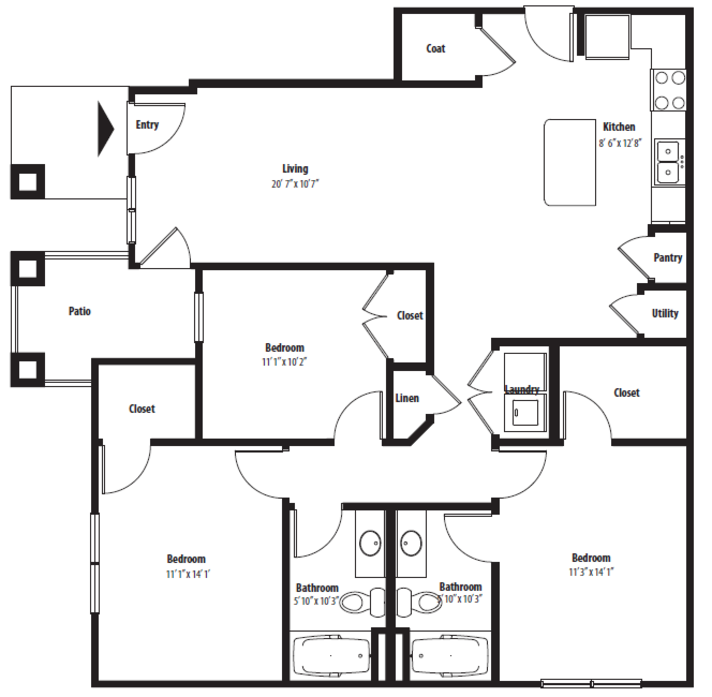1,303 sq. ft. C1G floor plan