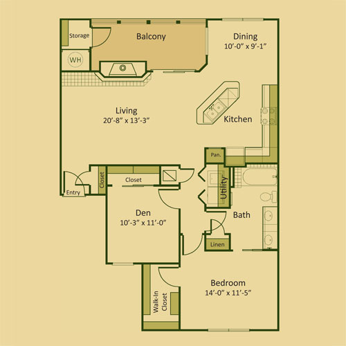 1,101 sq. ft. 1BD-FP floor plan
